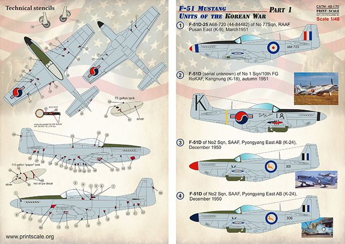 Print Scale Decals 1/48 North-American F-51 Mustang Units of the Korean War Part 1 # 48170