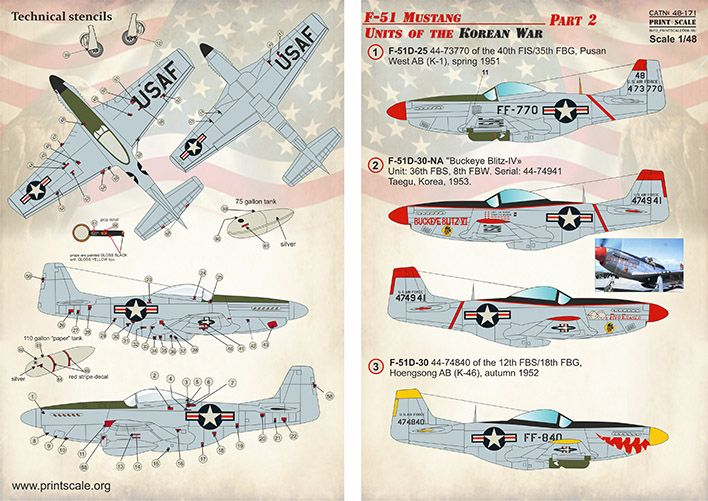 Print Scale Decals 1/48 North-American F-51 Mustang Units of the Korean War Part 2 # 48171