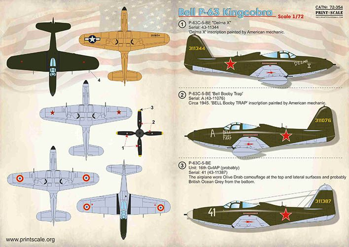Print Scale Decals 1/72 Bell P-63 Kingcobra # 72354