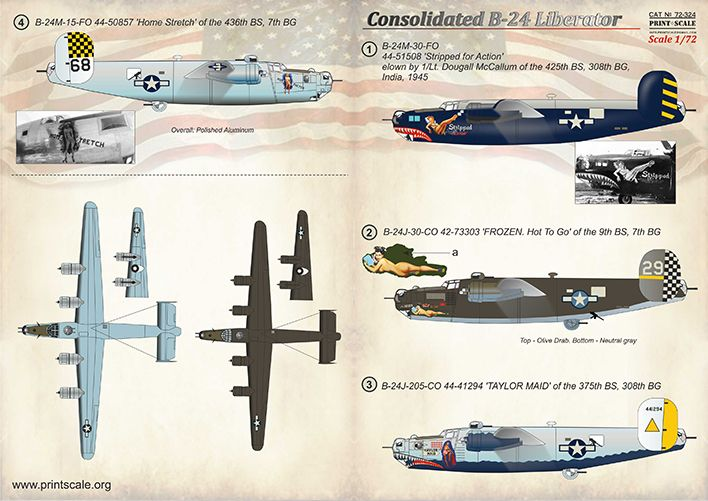 Print Scale Decals 1/72 Consolidated B-24 Liberator # 72324