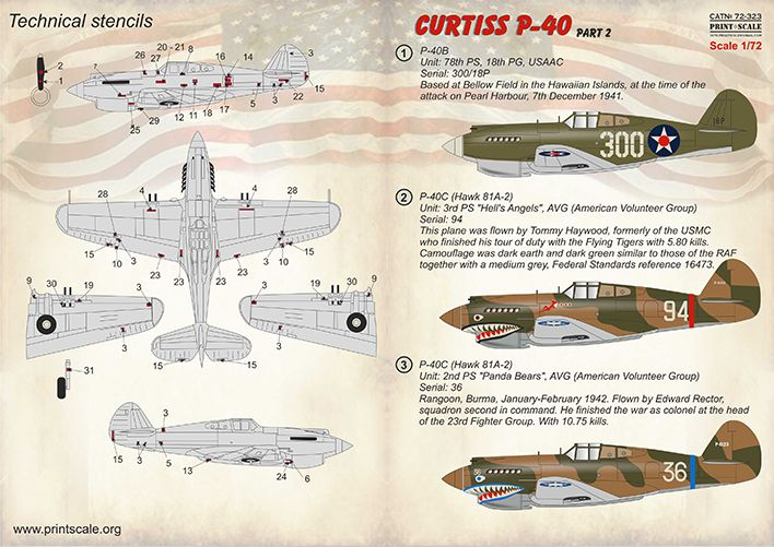 Print Scale Decals 1/72 Curtiss P-40 Part 2 # 72323