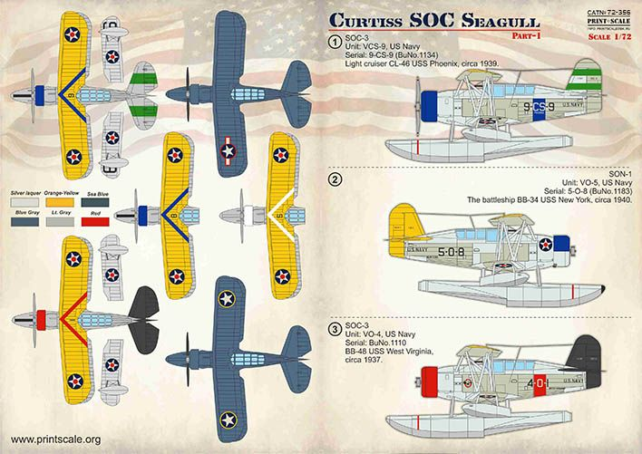 Print Scale Decals 1/72 Curtiss SOC Seagull Part 1 # 72356