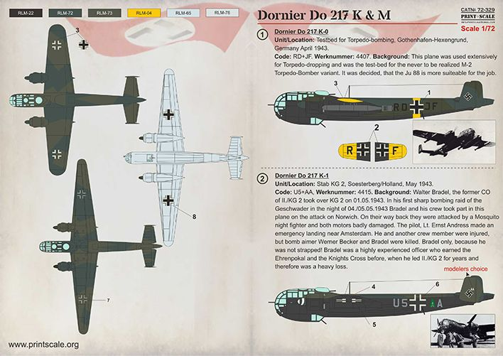 Print Scale Decals 1/72 Dornier Do-217 K & M # 72329