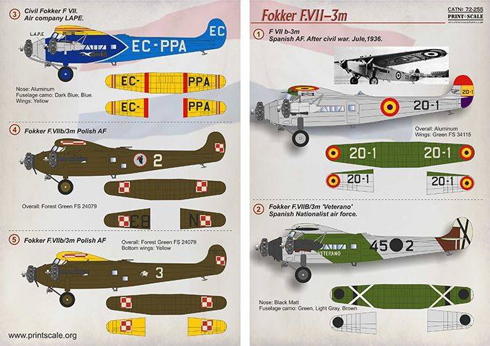 Print Scale Decals 1/72 Fokker F.VII-3m # 72255