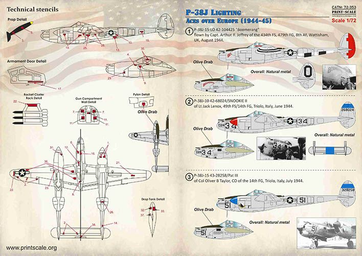 Print Scale Decals 1/72 Lockheed P-38J Lighting Aces over Europe 1944-1945 # 72353