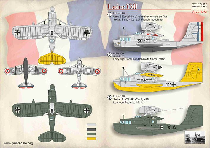 Print Scale Decals 1/72 Loire 130 # 72358