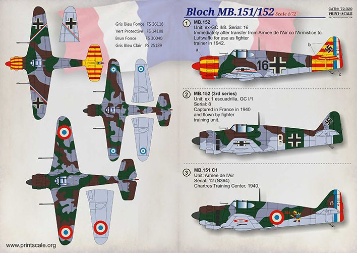 Print Scale Decals 1/72 Marcel-Bloch MB.151-MB.152 # 72320