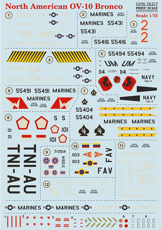 Print Scale Decals 1/72 North American OV-10 Bronco # 72317
