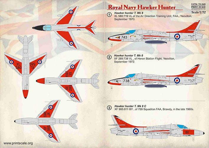 Print Scale Decals 1/72 Royal Navy Hawker Hunter # 72348