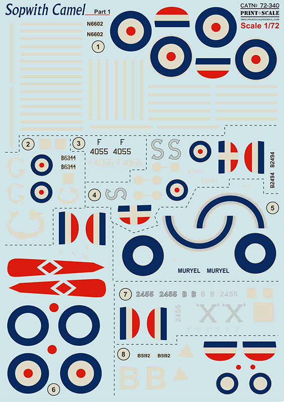 Print Scale Decals 1/72 Sopwith Camel Part 1 # 72340