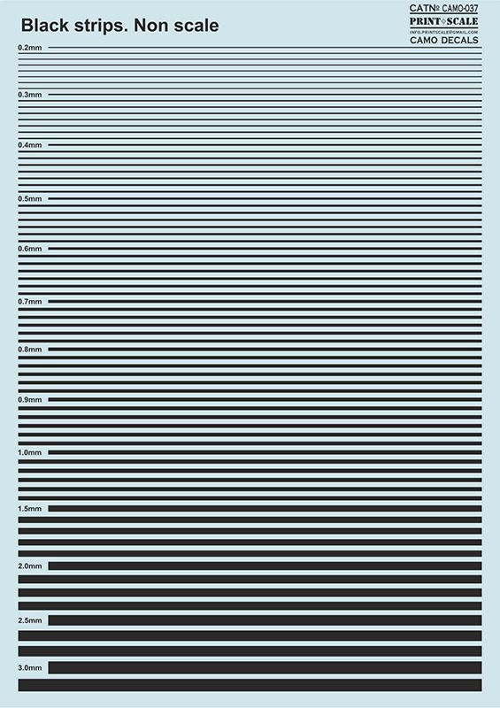 Print Scale Decals - Black Stripes # 037
