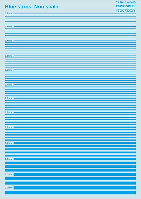 Print Scale Decals - Blue Stripes # 040