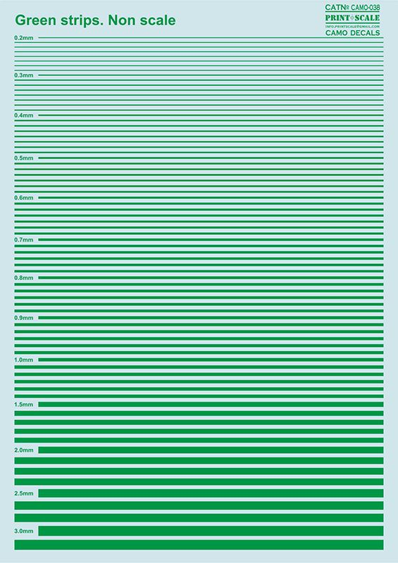 Print Scale Decals - Green Stripes # 038