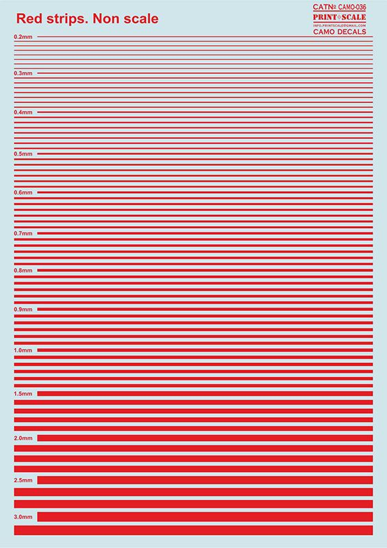 Print Scale Decals - Red Stripes # 036