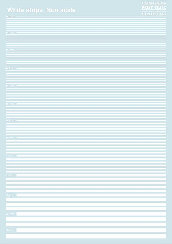 Print Scale Decals - White Stripes # 034