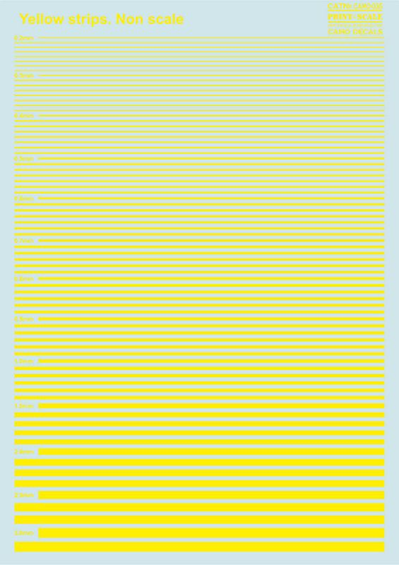 Print Scale Decals - Yellow Stripes # 035