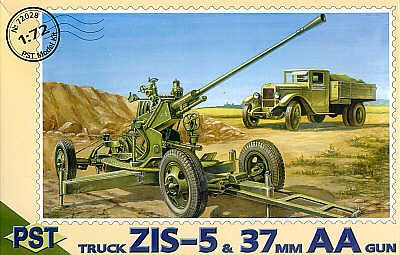 PST 1/72 ZIS-5 Truck & 37mm Anti-Aircraft Gun # 72028
