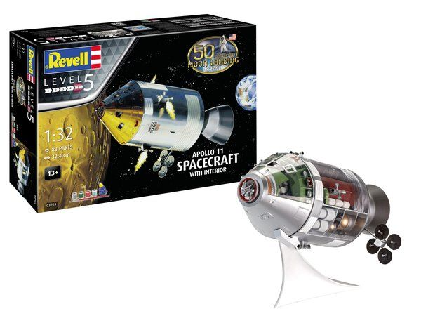 Revell 1/32 50th Anniversary Moon Landing 1969-2019 Apollo 11 Spacecraft with Interior Gift Set # 03