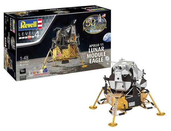 Revell 1/48 50th Anniversary Moon Landing 1969-2019 Apollo 11 Lunar Module Eagle Gift Set # 03701