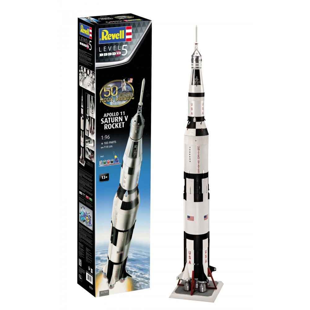 Revell 1/96 50th Anniversary Moon Landing 1969-2019 Apollo 11 Saturn V Rocket Gift Set # 03704