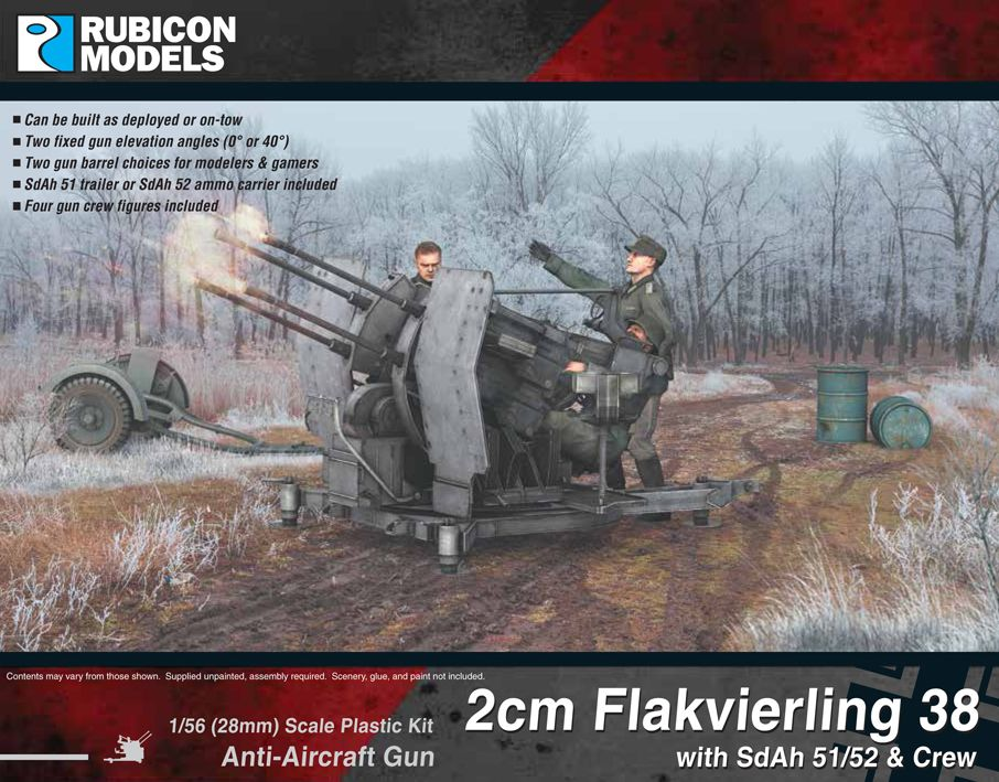 Rubicon Models 28mm 2cm Flakvierling 38 Anti-Aircraft Gun with SdAh 51/52 & Crew # 280073