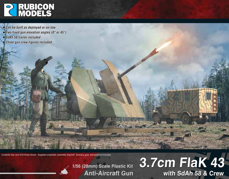 Rubicon Models 28mm 3.7cm FlaK 43 Anti-Aircraft Gun with SdAh 58 & Crew # 280074