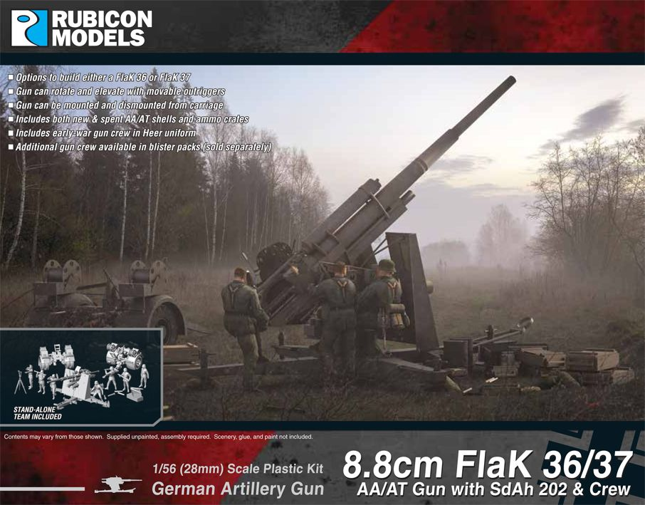 Rubicon Models 28mm 8.8cm FlaK 36/37 German AA/AT Gun with Sd.Ah 202 & Crew  # 280069