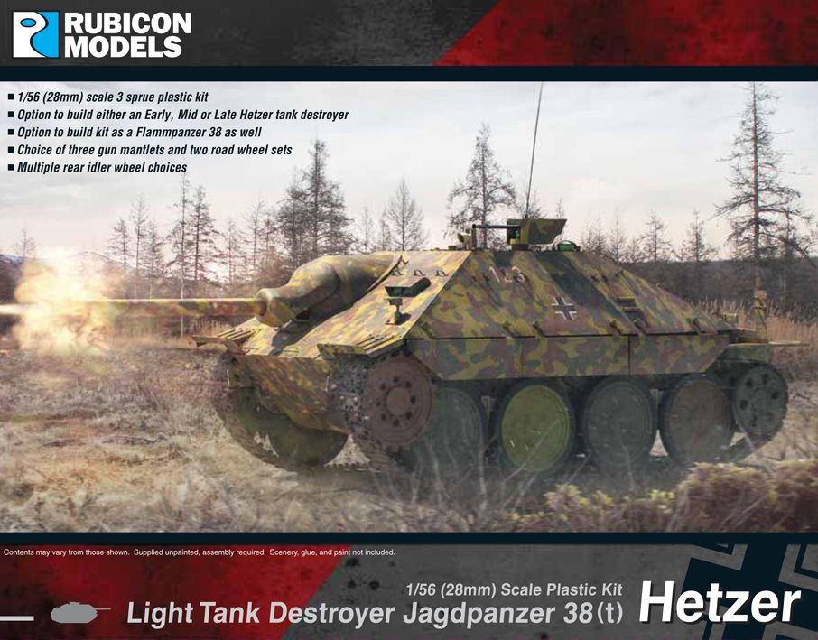 Rubicon Models 28mm Hetzer Jagdpanzer 38(t) Light Tank Destroyer # 280030