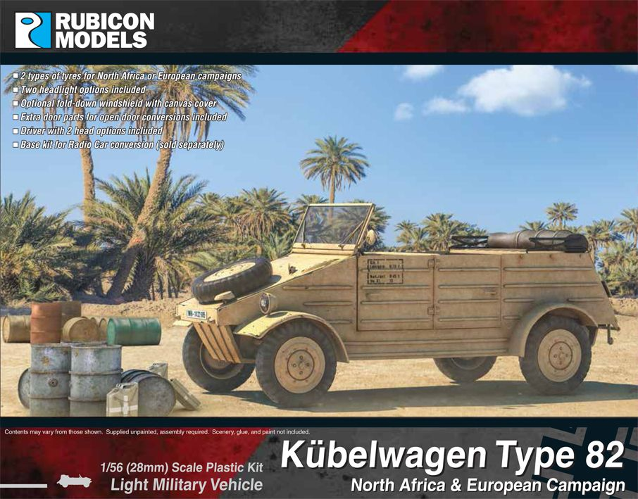 Rubicon Models 28mm Kubelwagen Type 82 North Afria & European Campaign Light Military Vehicle # 2800