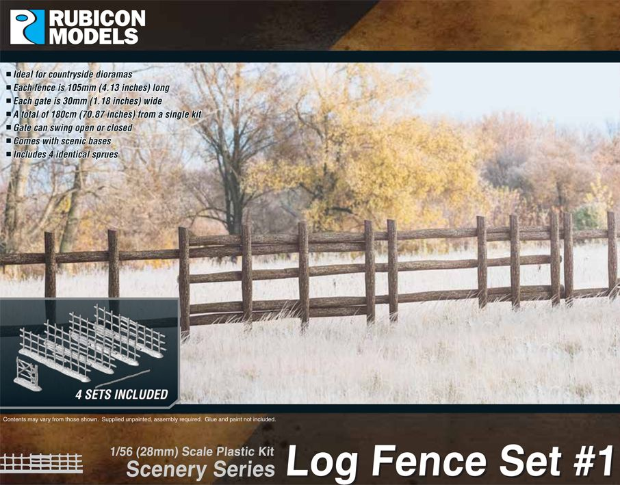 Rubicon Models 28mm Log Fence Set 1 # 283001