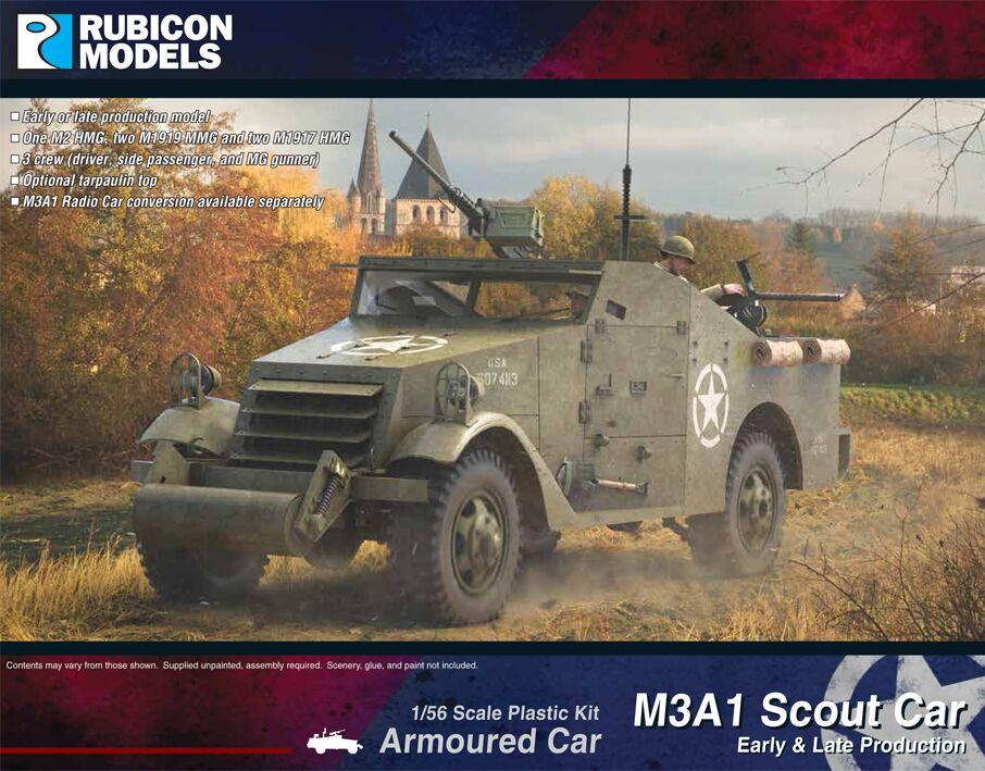 Rubicon Models 28mm M3A1 Early & Late Production Armoured Scout Car # 280083
