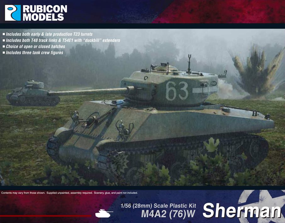 Rubicon Models 28mm M4A2 (76)W Sherman # 280054