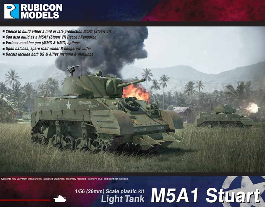 Rubicon Models 28mm M5A1 Stuart/Recce Light Tank # 280023