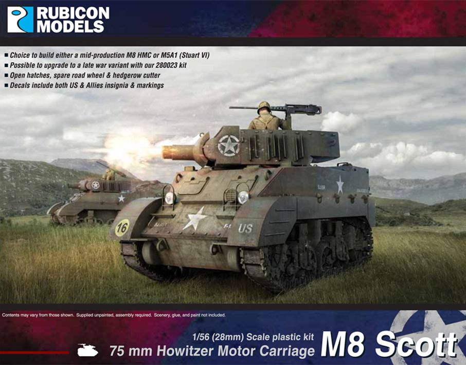 Rubicon Models 28mm M8 Scott/M5A1 Stuart 75mm Howitzer Motor Carriage # 280024