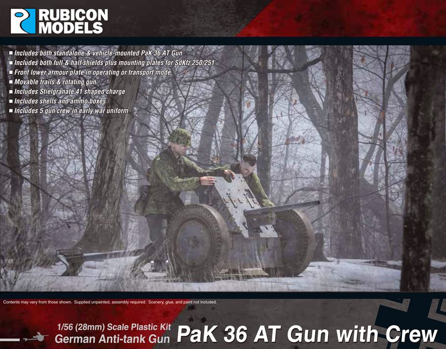 Rubicon Models 28mm PaK 36 German Anti-Tank Gun with Crew # 280057