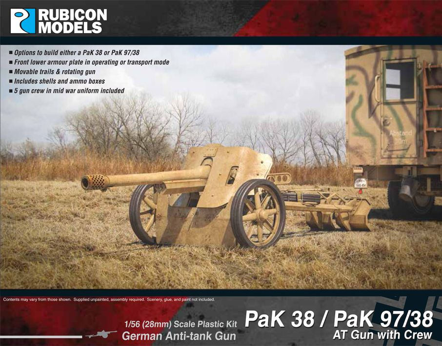 Rubicon Models 28mm PaK 38/PaK 97/38 German Anti-Tank Gun with Crew # 280058