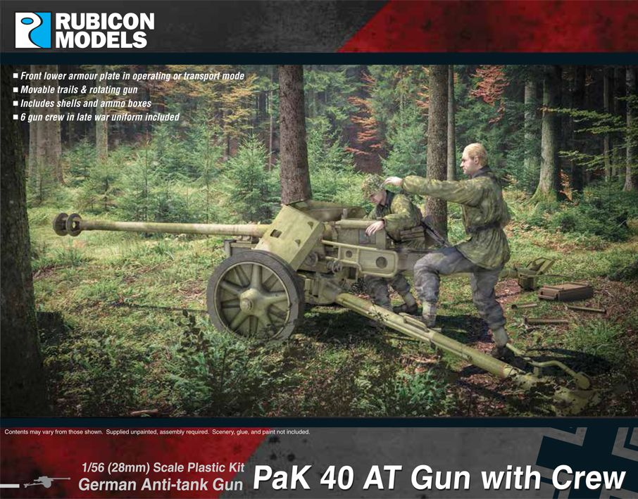 Rubicon Models 28mm PaK 40 German Anti-Tank Gun with Crew # 280059