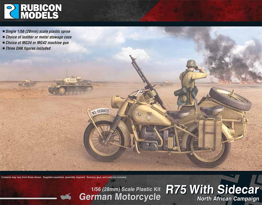 Rubicon Models 28mm R75 with Sidecar North African Campaign German Motorcycle # 280052