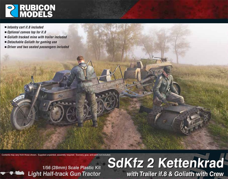 Rubicon Models 28mm Sd.Kfz. 2 Kettenkrad Light Half-Track Gun Tractor with Trailer if.8 & Goliath wi