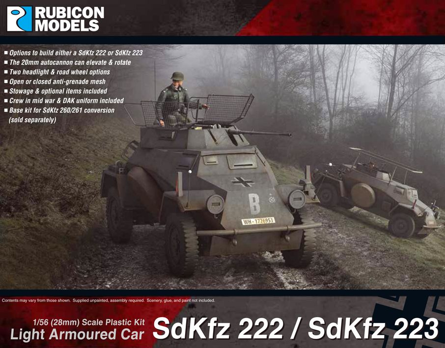 Rubicon Models 28mm Sd.Kfz. 222/223 Light Armoured Car # 280062