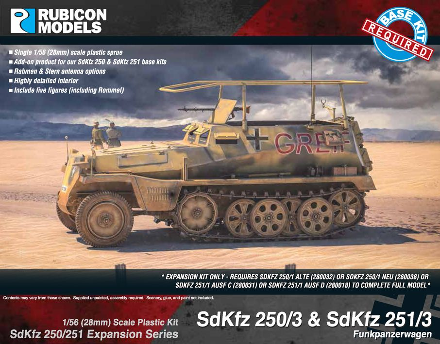 Rubicon Models 28mm Sd.Kfz. 250/3 & 251/3 Funkpanzerwagen Expansion Set # 280039