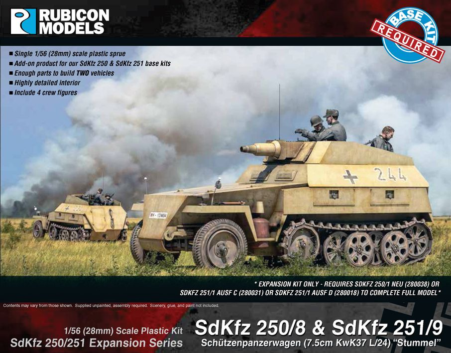 "Rubicon Models 28mm Sd.Kfz. 250/8 & 251/9 Schutzenpanzerwagen (7.5cm KwK37 L/24) ""Stummel"" Expansion"