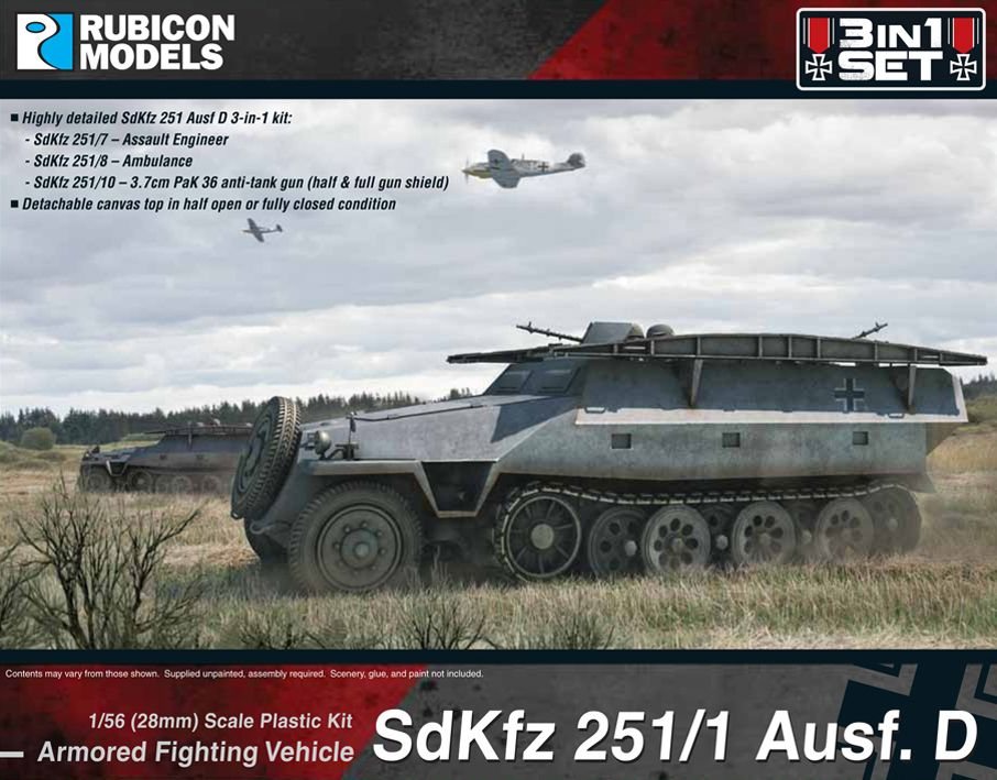 Rubicon Models 28mm Sd.Kfz. 251/1 Ausf. D Armored Fighting Vehicle 3 in 1 Set # 280019