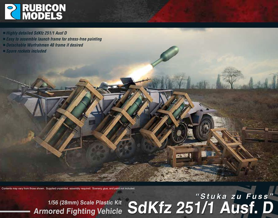 "Rubicon Models 28mm Sd.Kfz. 251/1 Ausf. D ""Stuka zu Fuss"" Armored Fighting Vehicle # 280020"