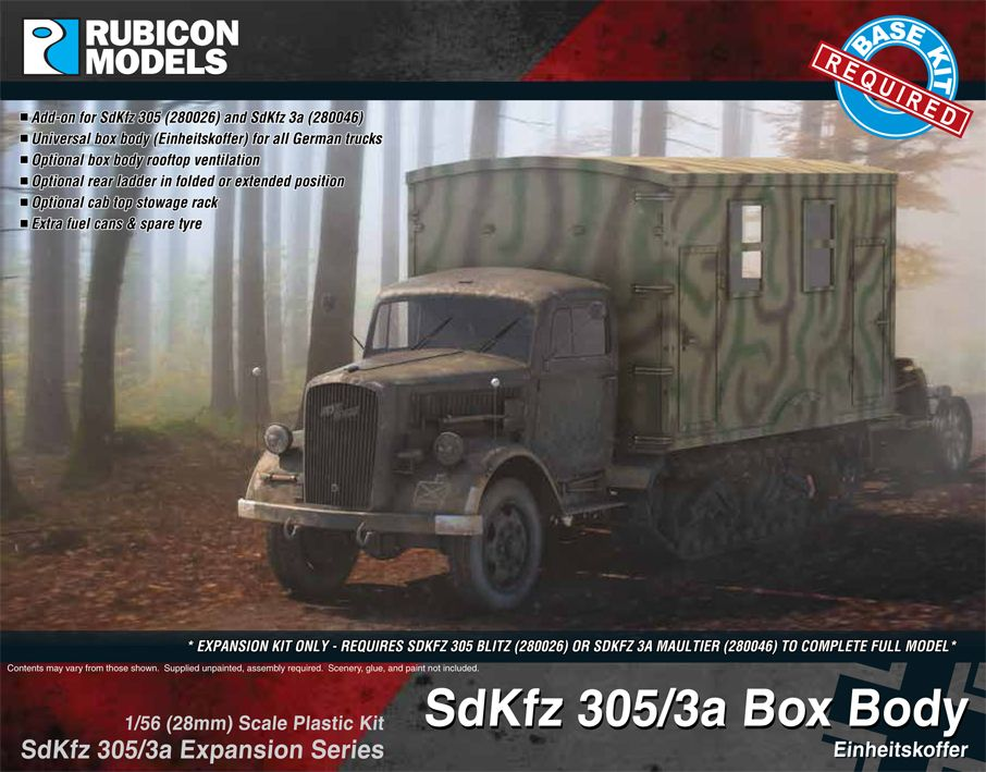 Rubicon Models 28mm Sd.Kfz. 305/3a Box Body Einheitskoffer Expansion Set # 280047