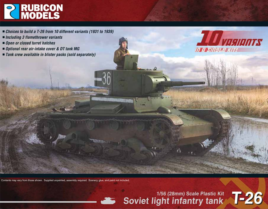 Rubicon Models 28mm Soviet T-26 Light Infantry Tank # 280070