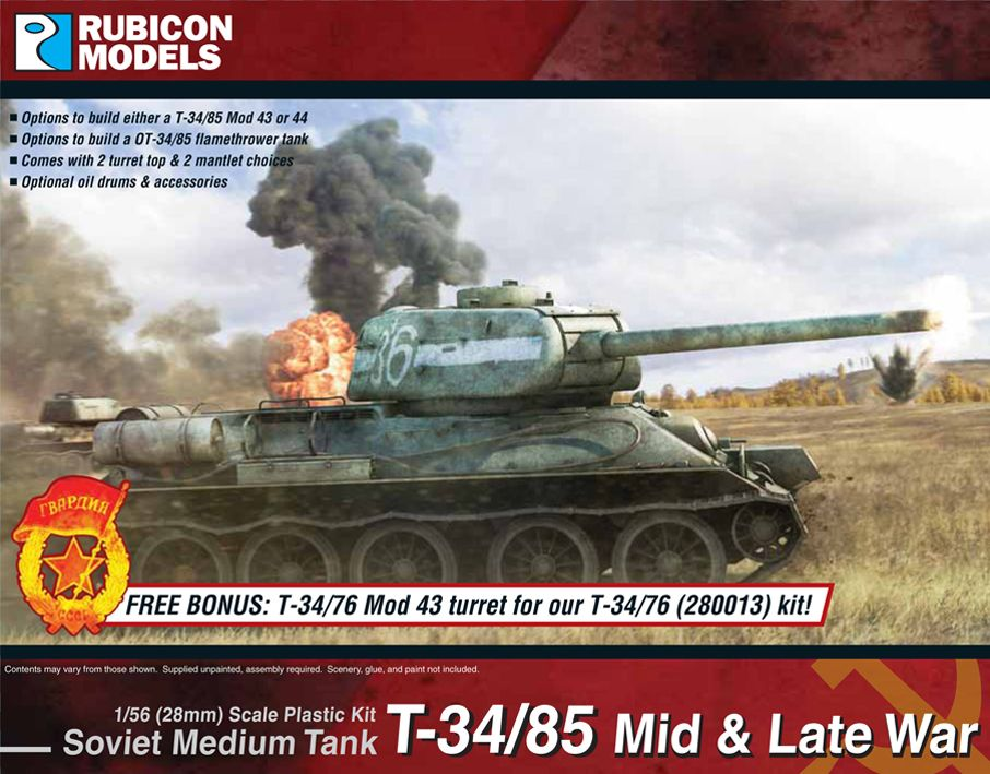 Rubicon Models 28mm T-34/85 Mid & Late War Soviet Medium Tank # 280021