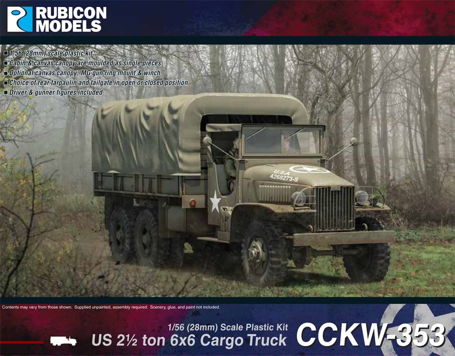 Rubicon Models 28mm US CCKW 353 2 1/2 ton 6x6 Cargo Truck # 280037