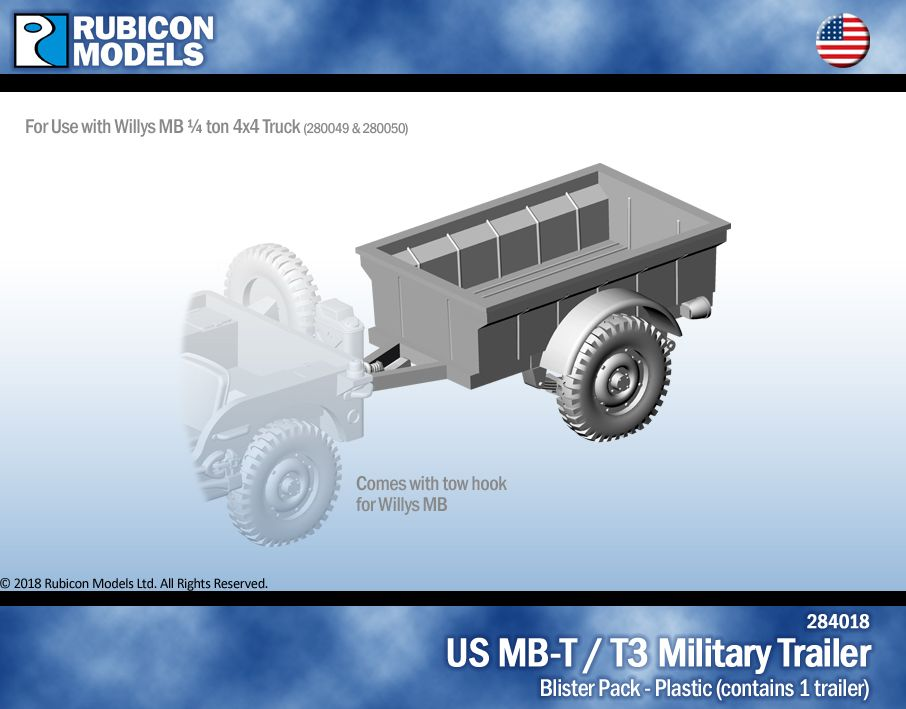 Rubicon Models 28mm US MB-T/T3 Military Trailer # 284018