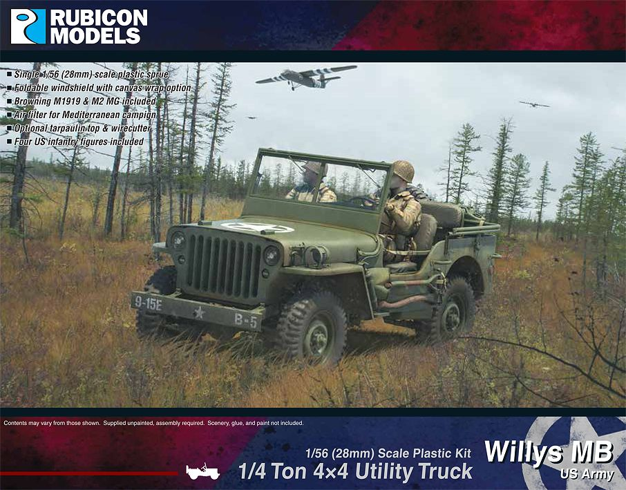 Rubicon Models 28mm Willy's MB US Army 1/4 ton 4x4 Utility Truck # 280049